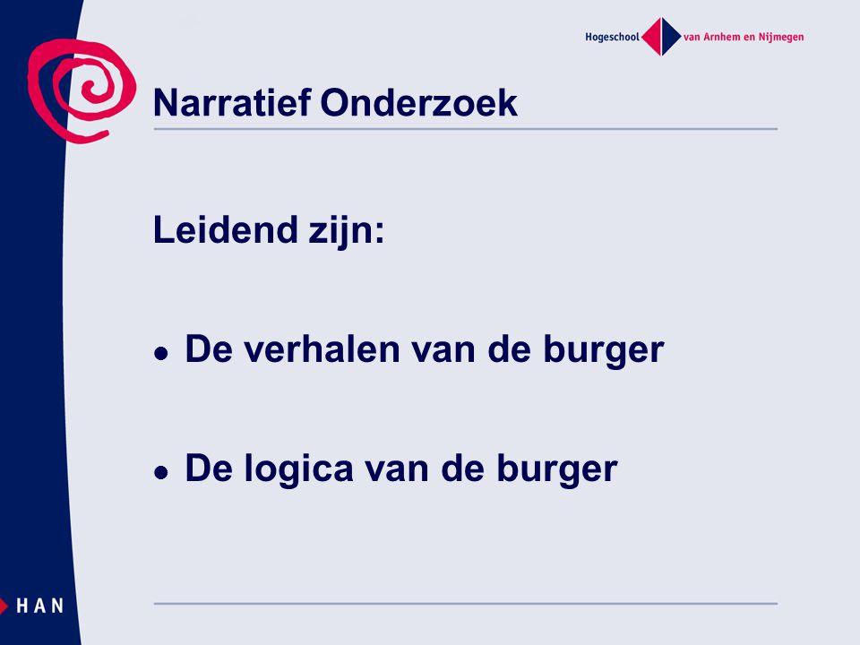 Narratief Onderzoek Leidend zijn: De verhalen van de burger De logica van de burger