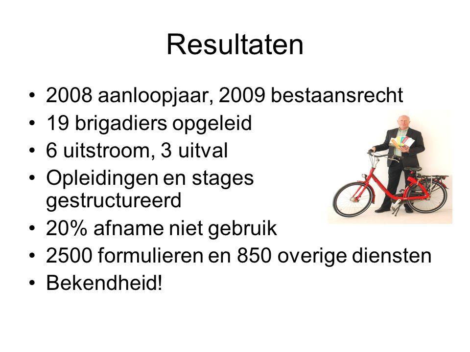 Resultaten 2008 aanloopjaar, 2009 bestaansrecht 19 brigadiers opgeleid