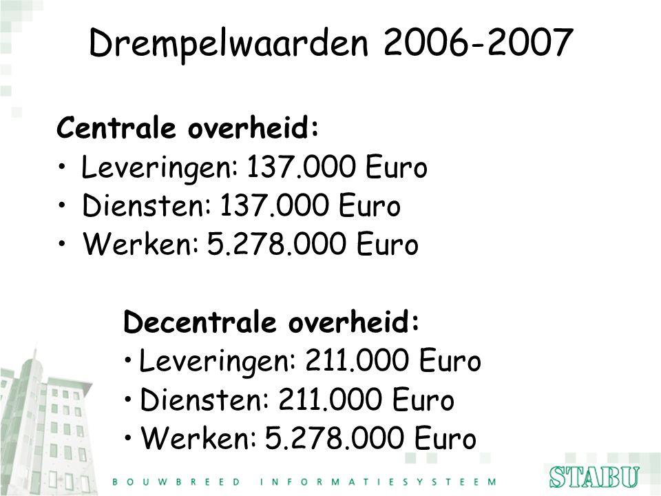Drempelwaarden 2006-2007 Centrale overheid: Leveringen: 137.000 Euro