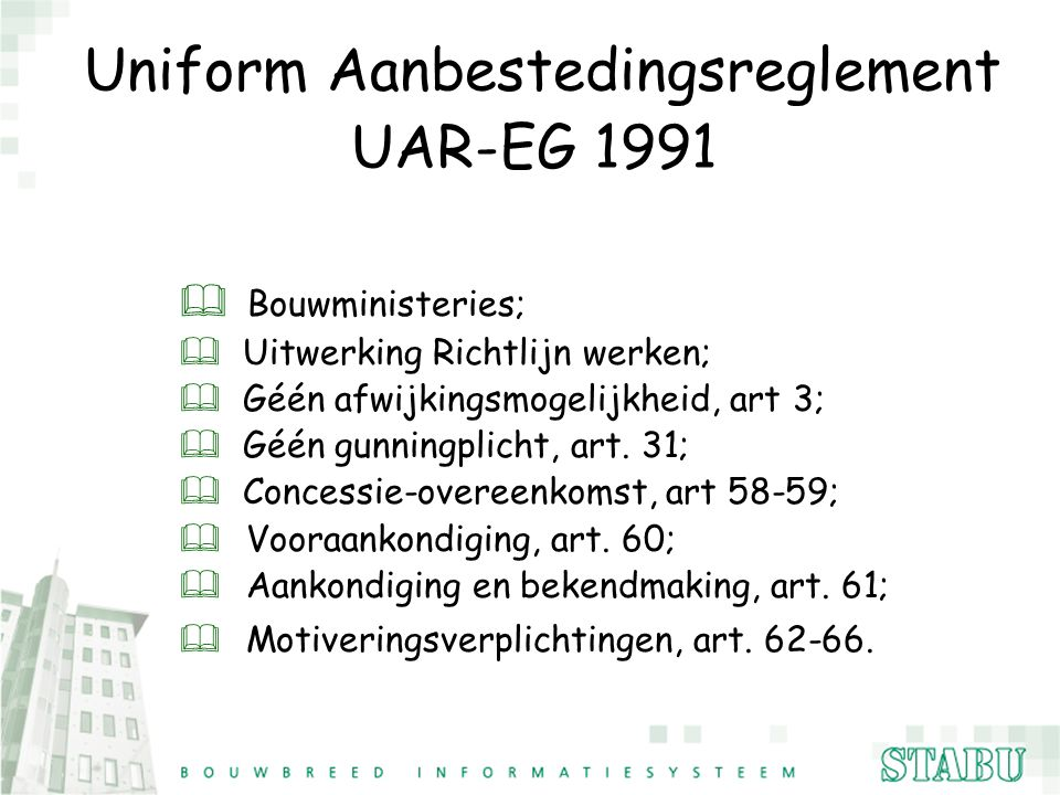 Uniform Aanbestedingsreglement UAR-EG 1991