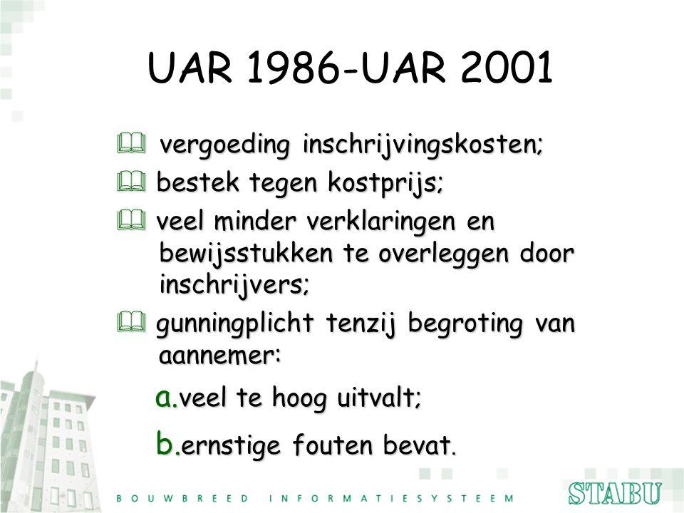 UAR 1986-UAR 2001 vergoeding inschrijvingskosten;