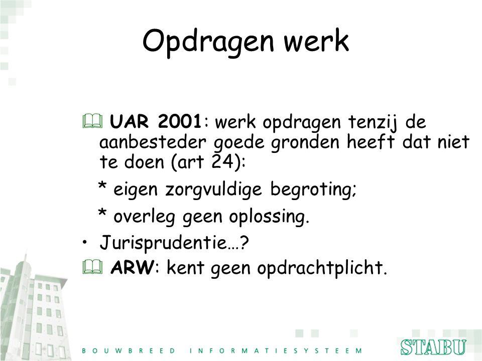 Opdragen werk UAR 2001: werk opdragen tenzij de aanbesteder goede gronden heeft dat niet te doen (art 24):