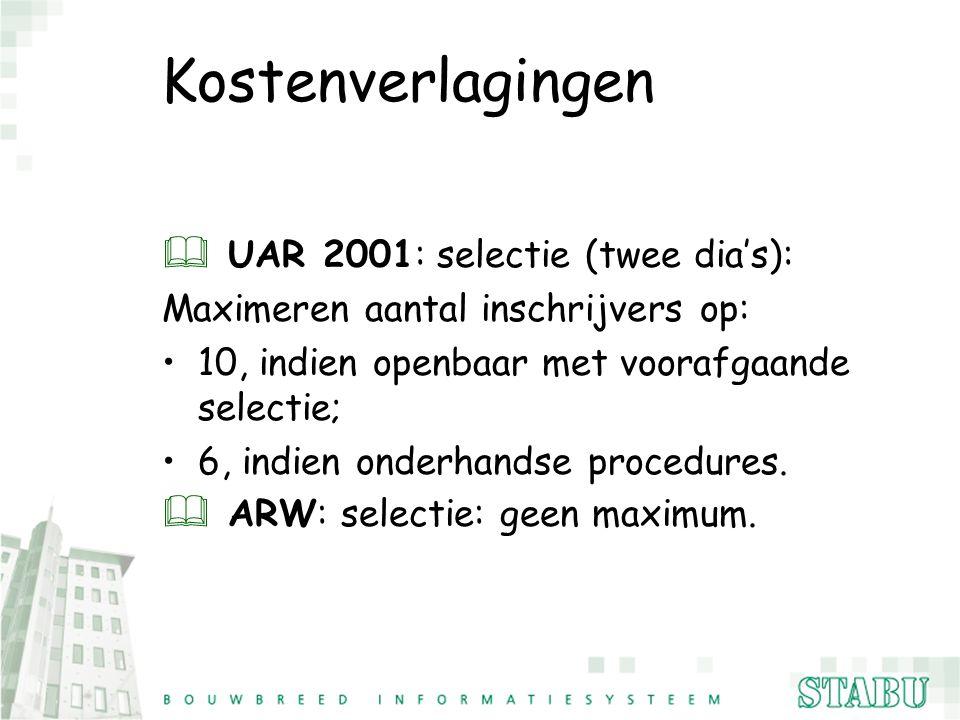 Kostenverlagingen UAR 2001: selectie (twee dia's):