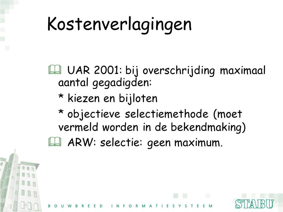 Kostenverlagingen UAR 2001: bij overschrijding maximaal aantal gegadigden: * kiezen en bijloten.