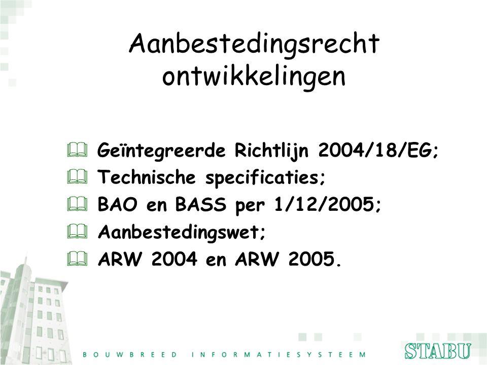 Aanbestedingsrecht ontwikkelingen Geïntegreerde Richtlijn 2004/18/EG;