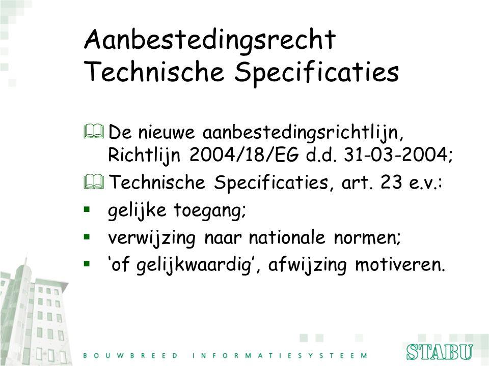 Aanbestedingsrecht Technische Specificaties