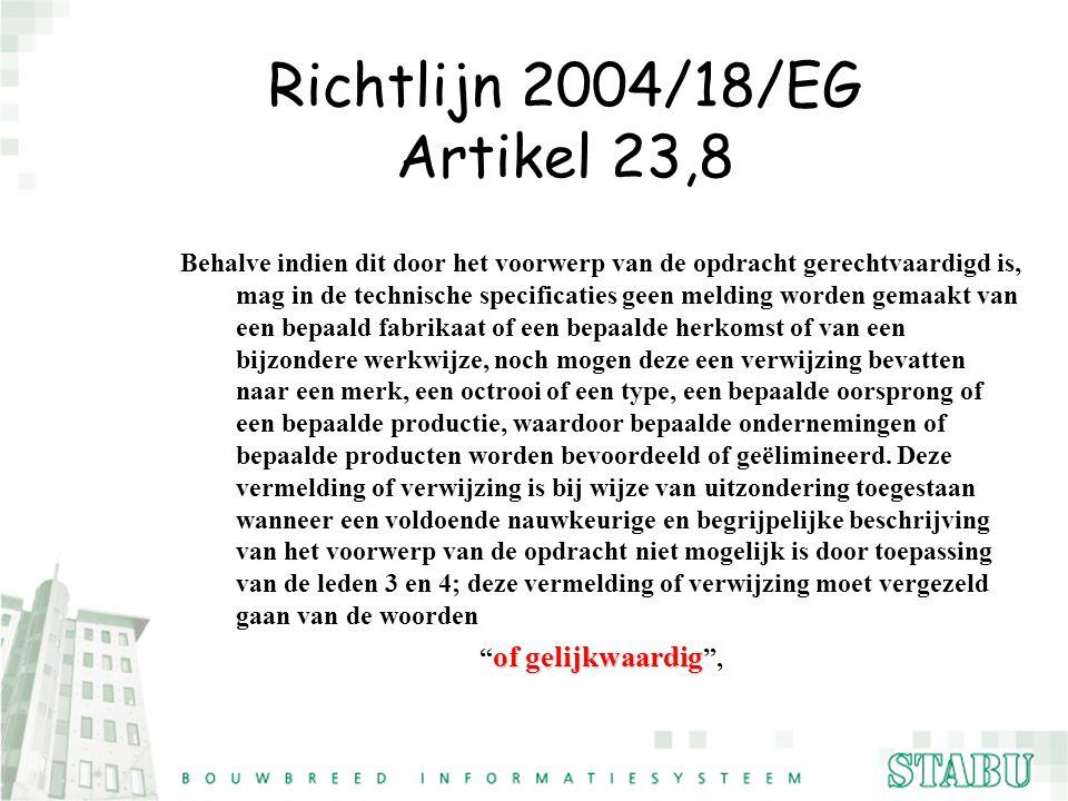Richtlijn 2004/18/EG Artikel 23,8