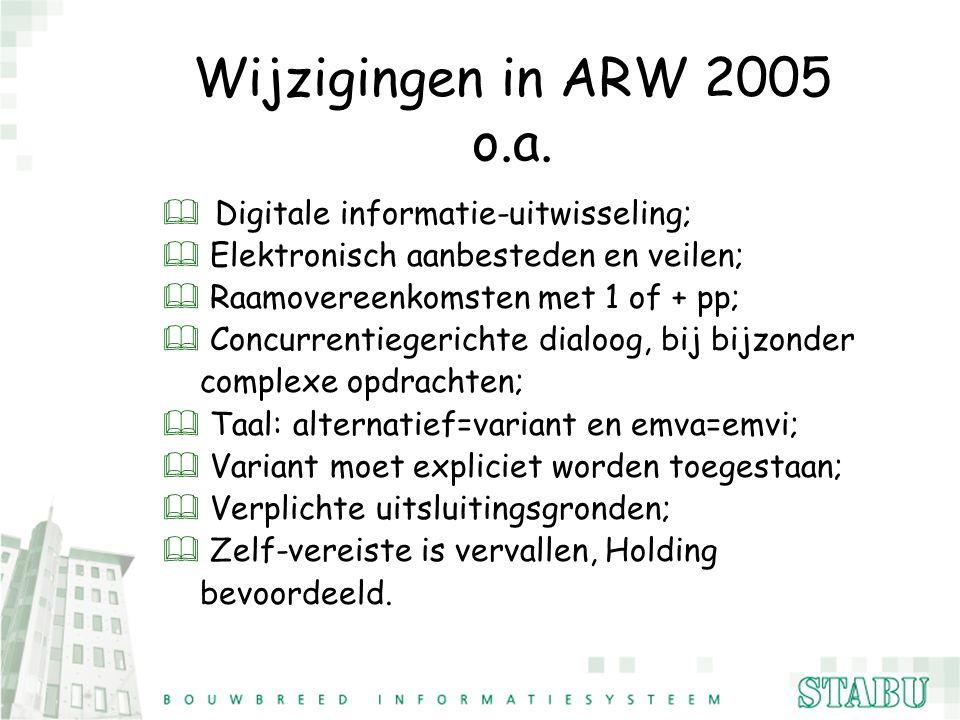 Wijzigingen in ARW 2005 o.a. Digitale informatie-uitwisseling;