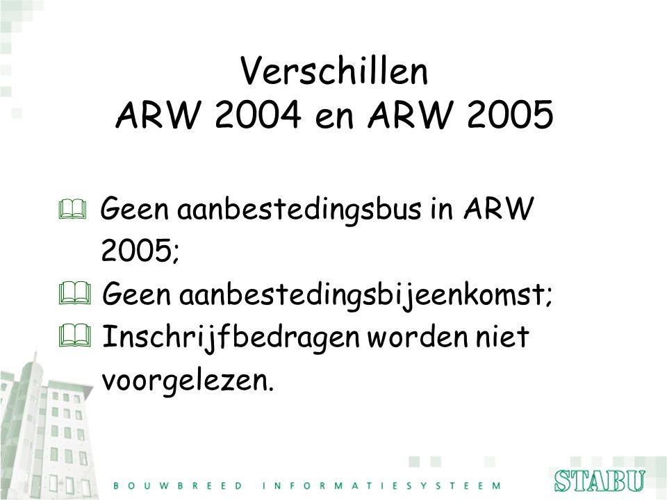 Verschillen ARW 2004 en ARW 2005 2005; Geen aanbestedingsbijeenkomst;