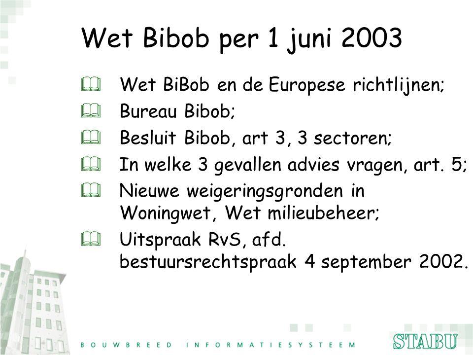 Wet Bibob per 1 juni 2003 Wet BiBob en de Europese richtlijnen;