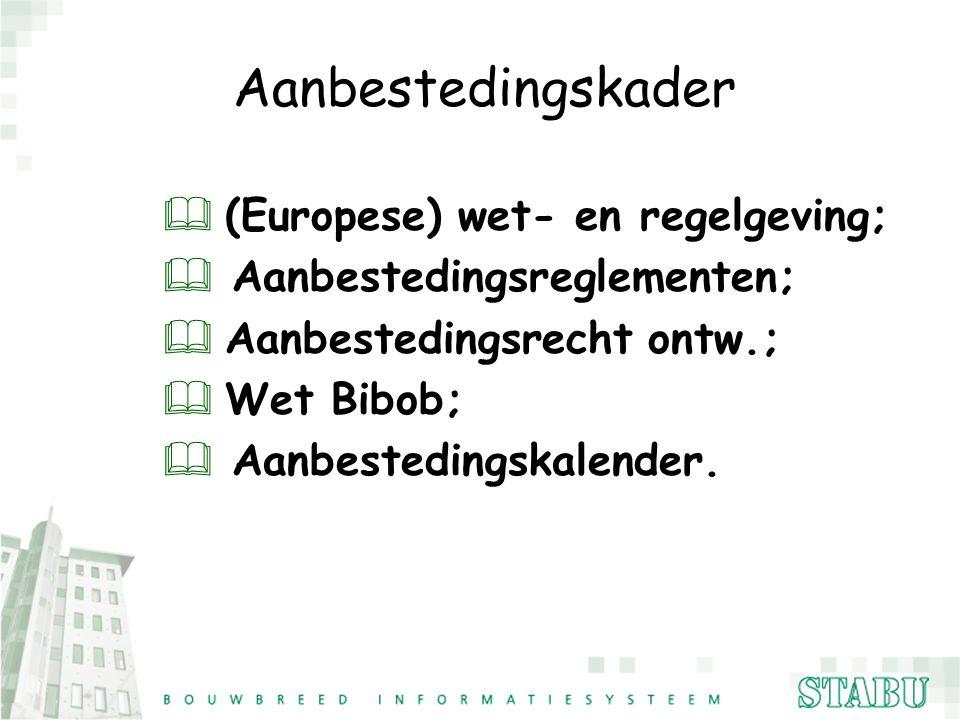 Aanbestedingskader (Europese) wet- en regelgeving;