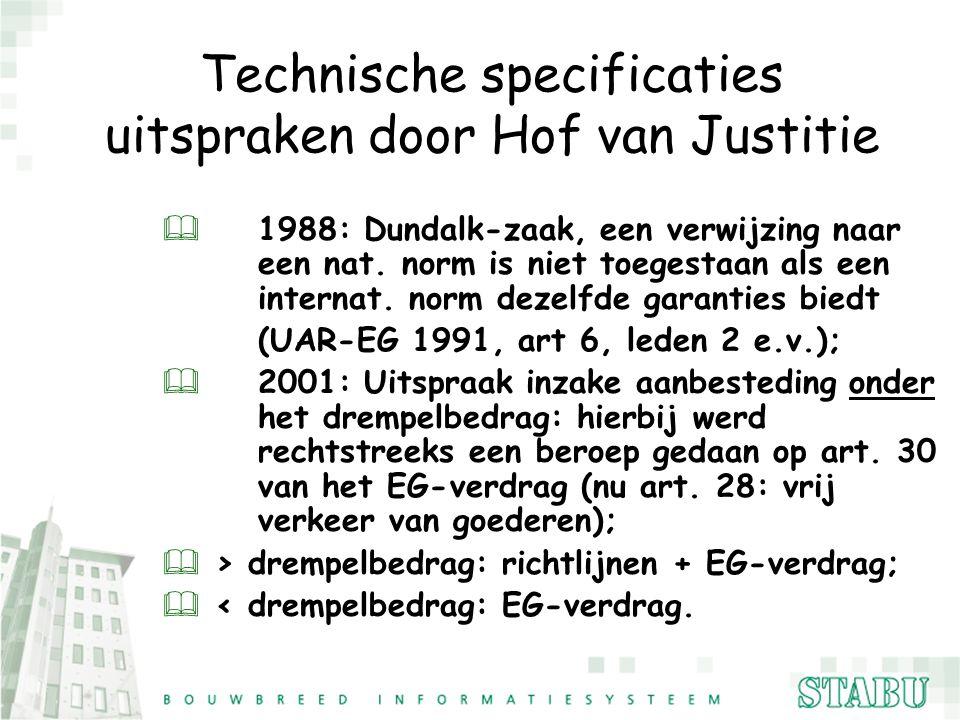 Technische specificaties uitspraken door Hof van Justitie