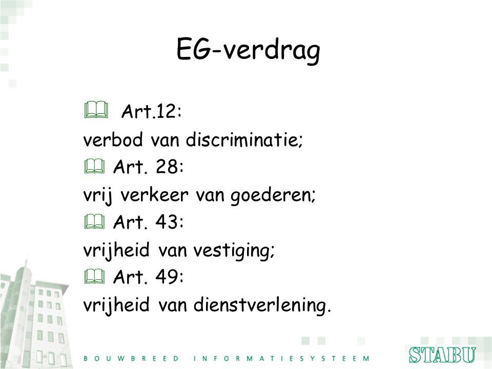 EG-verdrag Art.12: verbod van discriminatie; Art. 28: