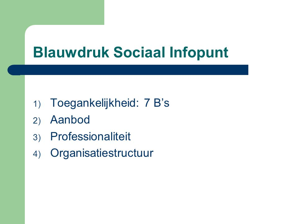 Blauwdruk Sociaal Infopunt