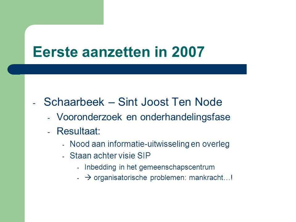 Eerste aanzetten in 2007 Schaarbeek – Sint Joost Ten Node