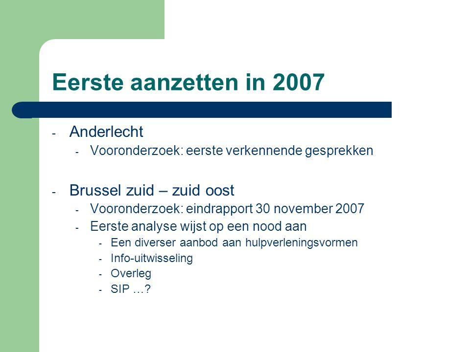 Eerste aanzetten in 2007 Anderlecht Brussel zuid – zuid oost