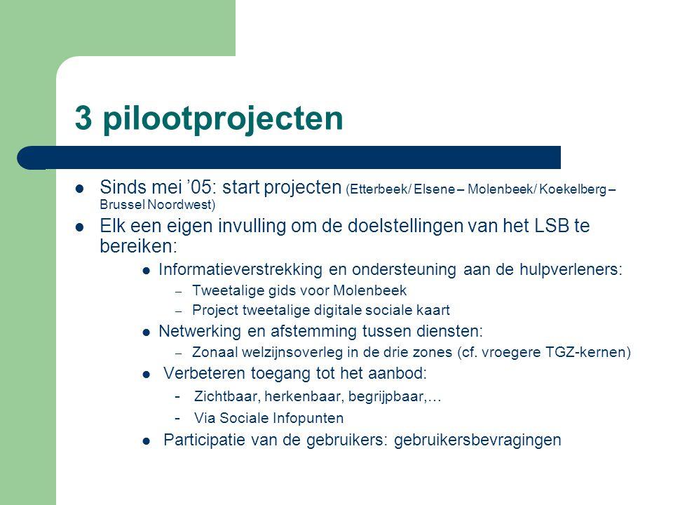 3 pilootprojecten Sinds mei '05: start projecten (Etterbeek/ Elsene – Molenbeek/ Koekelberg – Brussel Noordwest)