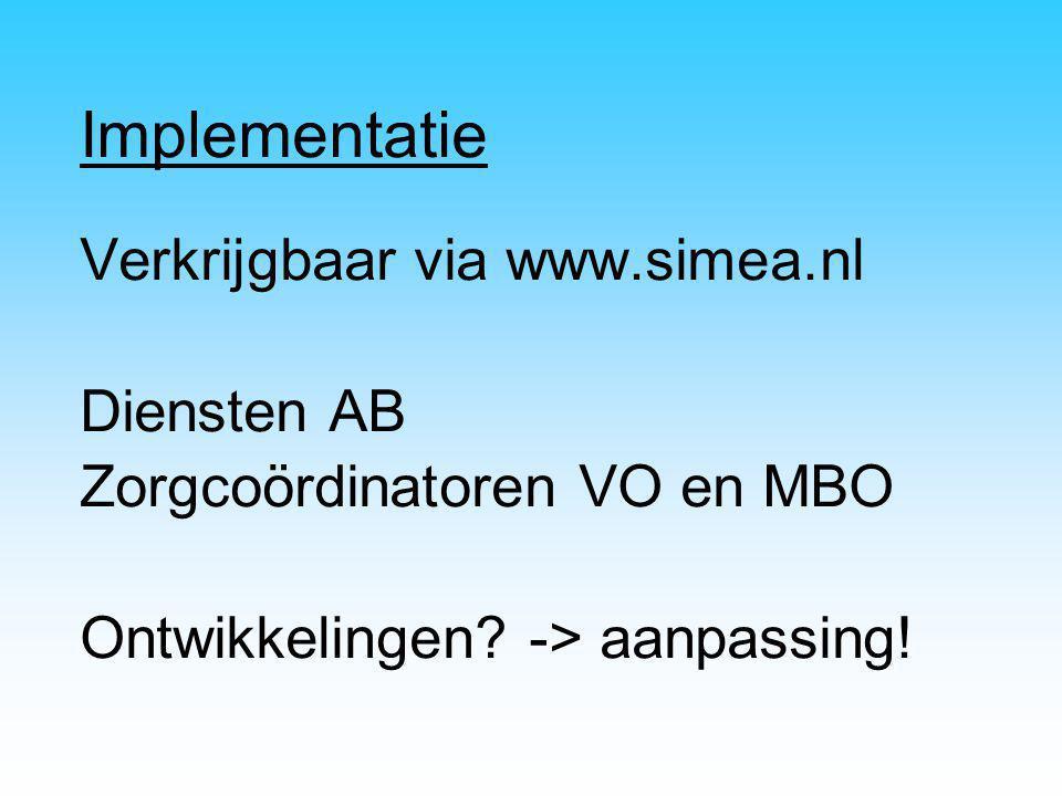 Implementatie Verkrijgbaar via www.simea.nl Diensten AB