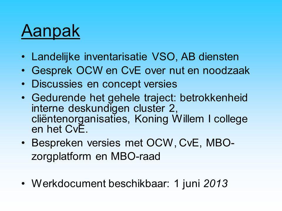 Aanpak Landelijke inventarisatie VSO, AB diensten