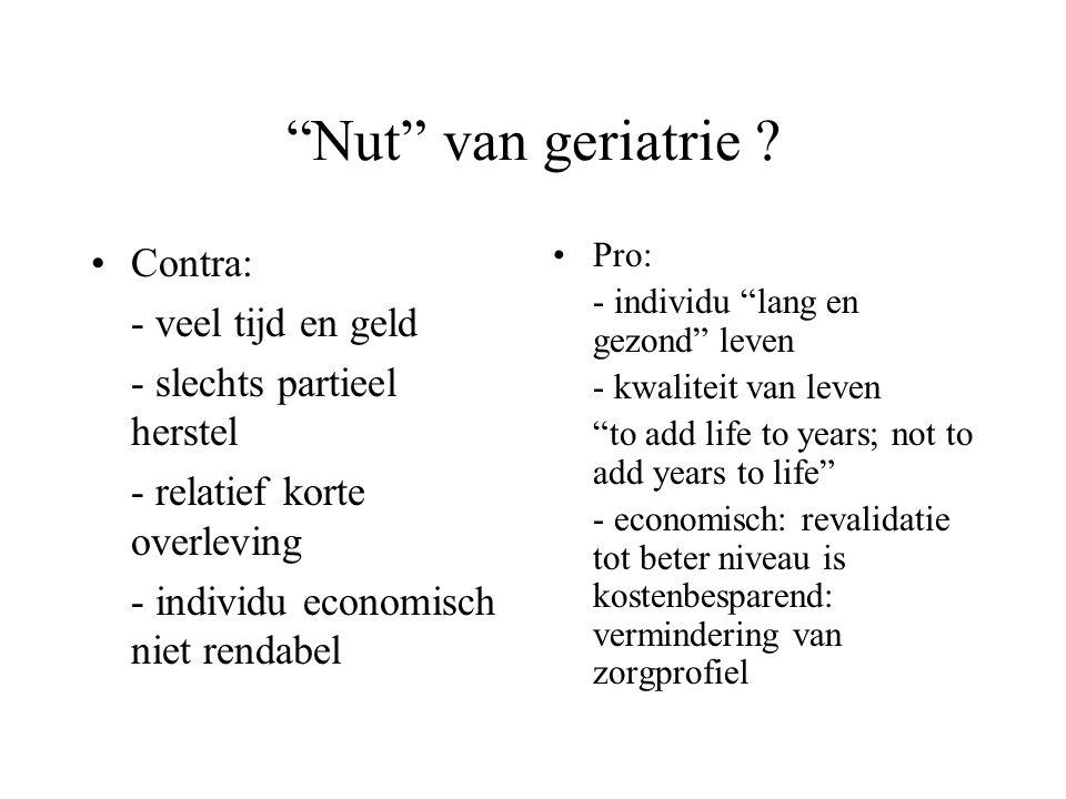 Nut van geriatrie Contra: - veel tijd en geld