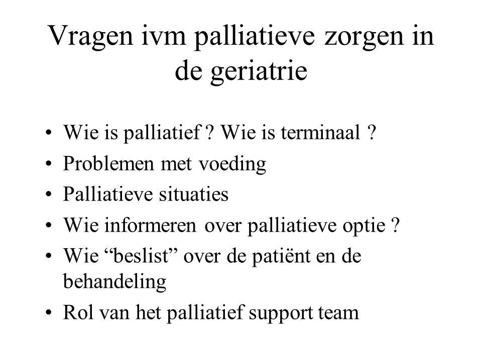 Vragen ivm palliatieve zorgen in de geriatrie