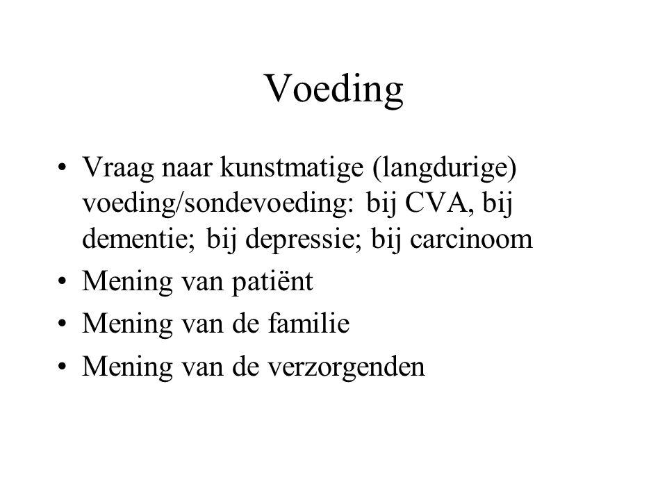 Voeding Vraag naar kunstmatige (langdurige) voeding/sondevoeding: bij CVA, bij dementie; bij depressie; bij carcinoom.