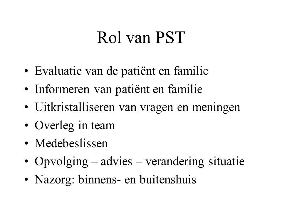 Rol van PST Evaluatie van de patiënt en familie