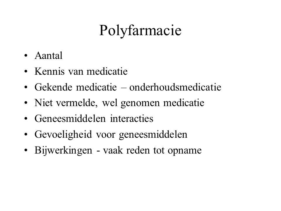 Polyfarmacie Aantal Kennis van medicatie