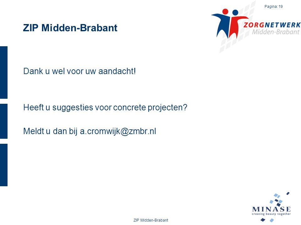 ZIP Midden-Brabant Dank u wel voor uw aandacht! Heeft u suggesties voor concrete projecten Meldt u dan bij a.cromwijk@zmbr.nl