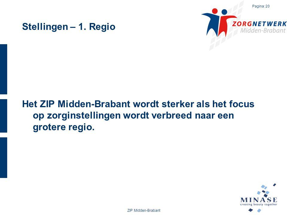 Stellingen – 1. Regio Het ZIP Midden-Brabant wordt sterker als het focus op zorginstellingen wordt verbreed naar een grotere regio.