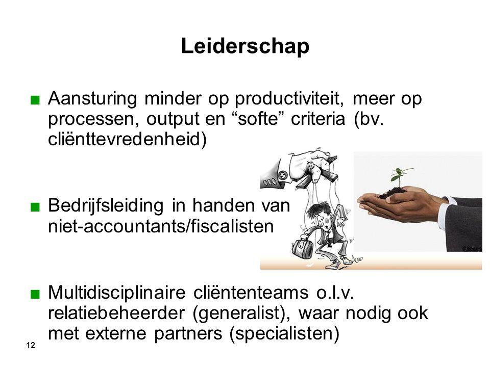 Leiderschap Aansturing minder op productiviteit, meer op processen, output en softe criteria (bv. cliënttevredenheid)