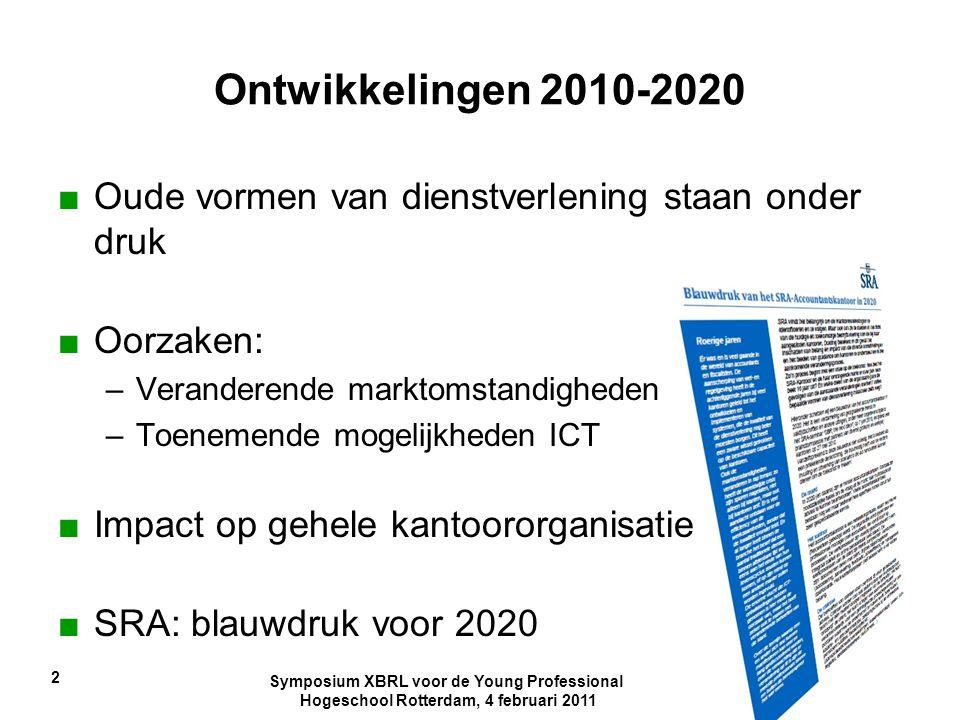 Ontwikkelingen 2010-2020 Oude vormen van dienstverlening staan onder druk. Oorzaken: Veranderende marktomstandigheden.