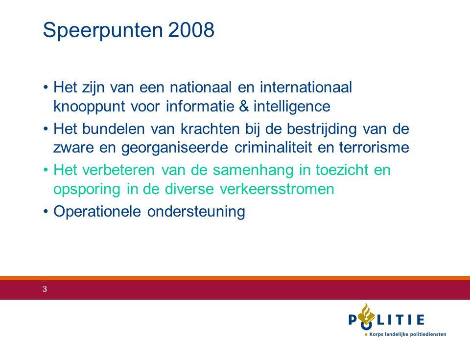Speerpunten 2008 Het zijn van een nationaal en internationaal knooppunt voor informatie & intelligence.