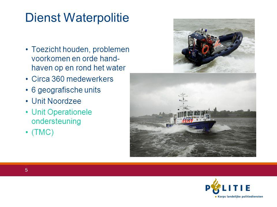 Dienst Waterpolitie Toezicht houden, problemen voorkomen en orde hand- haven op en rond het water. Circa 360 medewerkers.