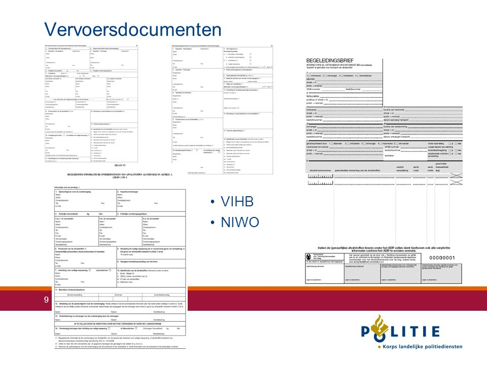 Vervoersdocumenten VIHB NIWO