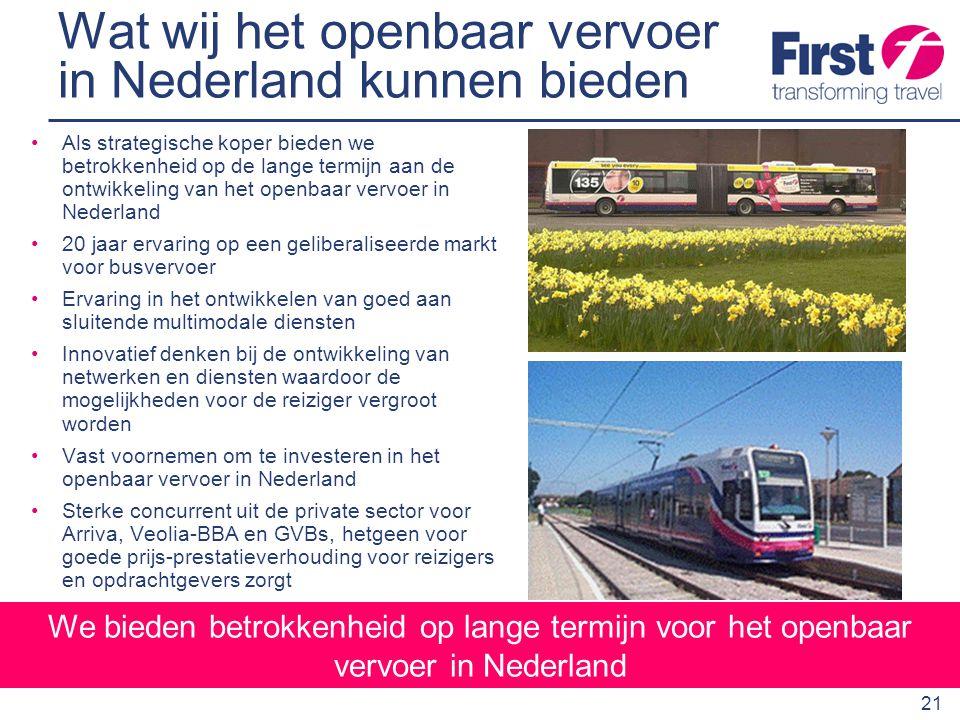 Wat wij het openbaar vervoer in Nederland kunnen bieden