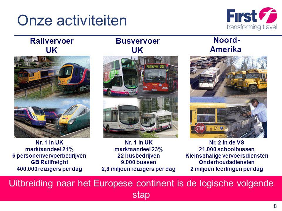 Onze activiteiten Railvervoer. UK. BusvervoerUK. Noord-Amerika. Nr. 1 in UK. marktaandeel 21% 6 personenvervoerbedrijven.