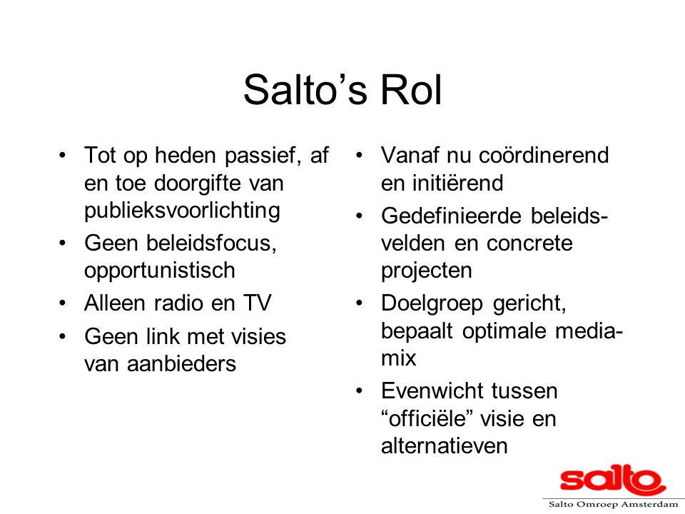 Salto's Rol Tot op heden passief, af en toe doorgifte van publieksvoorlichting. Geen beleidsfocus, opportunistisch.