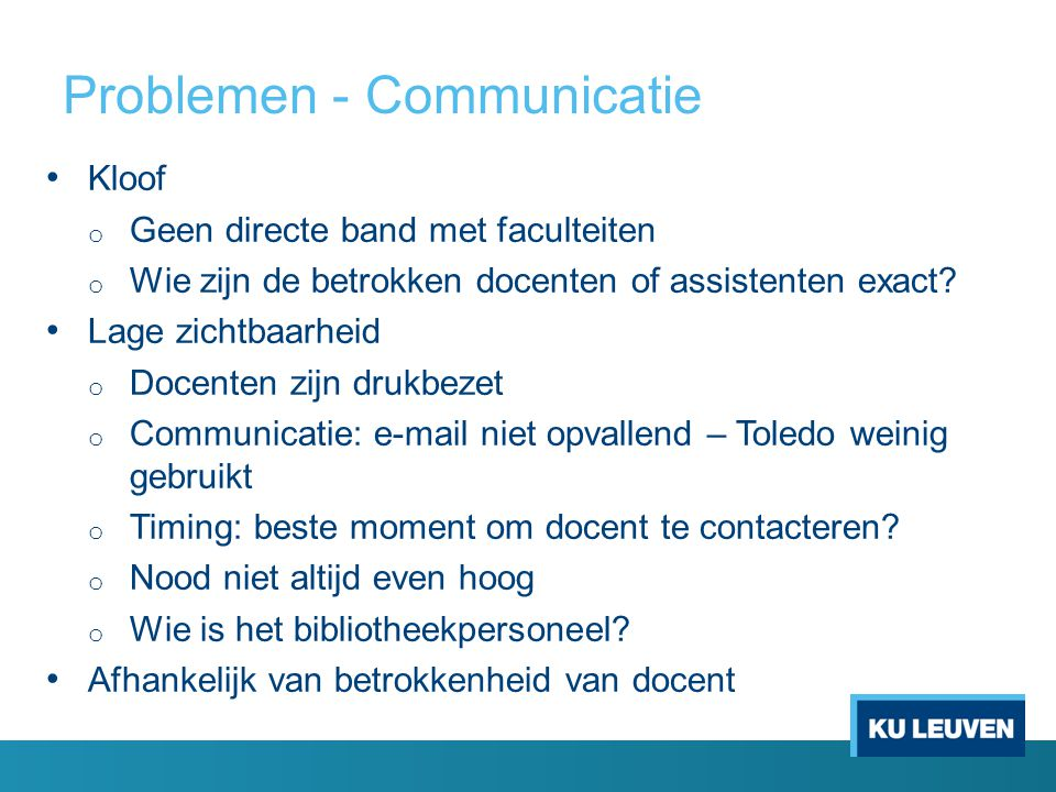 Problemen - Communicatie