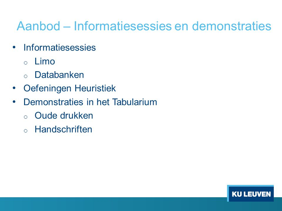Aanbod – Informatiesessies en demonstraties