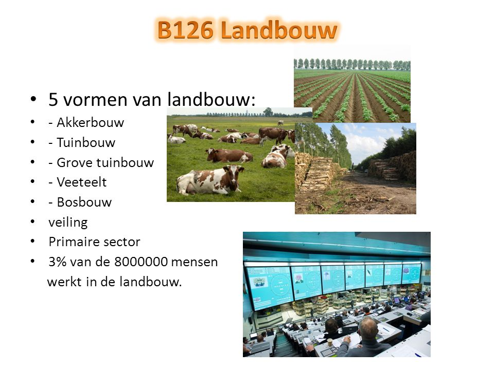 B126 Landbouw 5 vormen van landbouw: - Akkerbouw - Tuinbouw