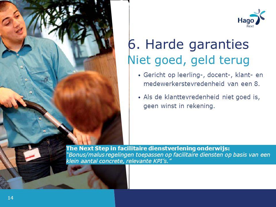 6. Harde garanties Niet goed, geld terug