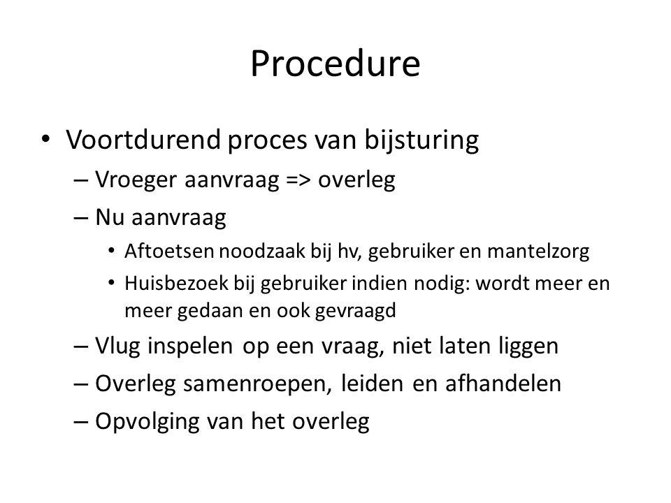 Procedure Voortdurend proces van bijsturing