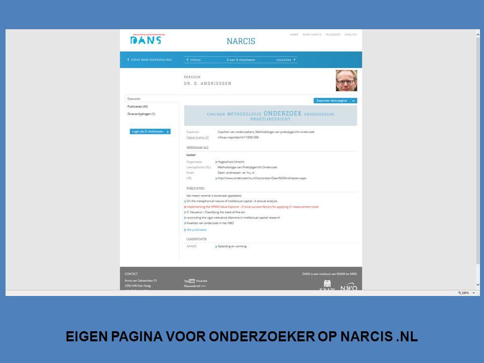 EIGEN PAGINA VOOR ONDERZOEKER OP NARCIS .NL