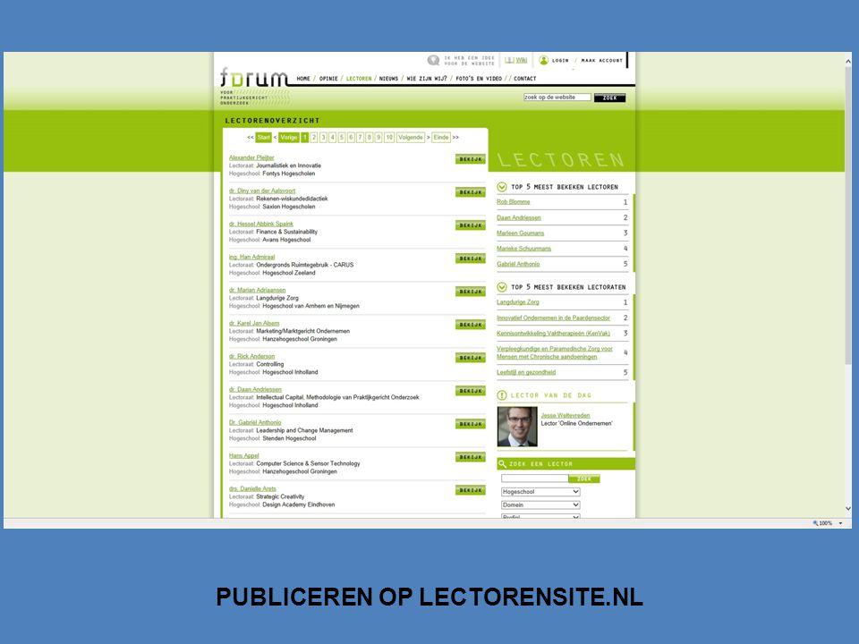 PUBLICEREN OP LECTORENSITE.NL