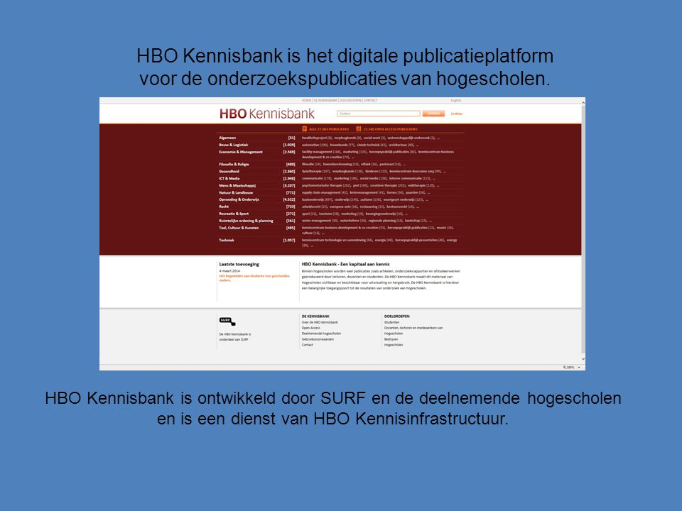HBO Kennisbank is het digitale publicatieplatform