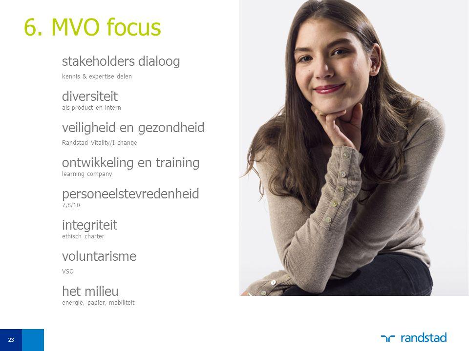 6. MVO focus stakeholders dialoog. kennis & expertise delen. diversiteit als product en intern. veiligheid en gezondheid.
