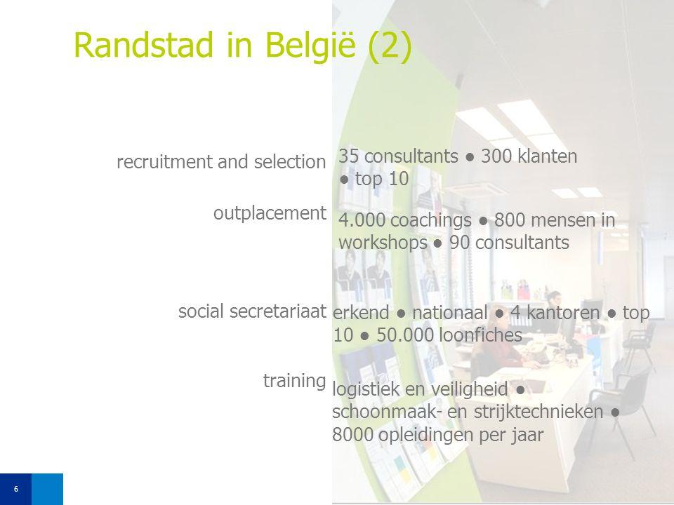 Randstad in België (2) 35 consultants ● 300 klanten ● top 10