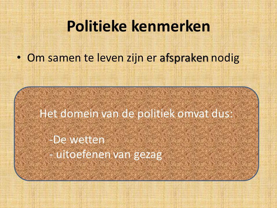 Het domein van de politiek omvat dus: