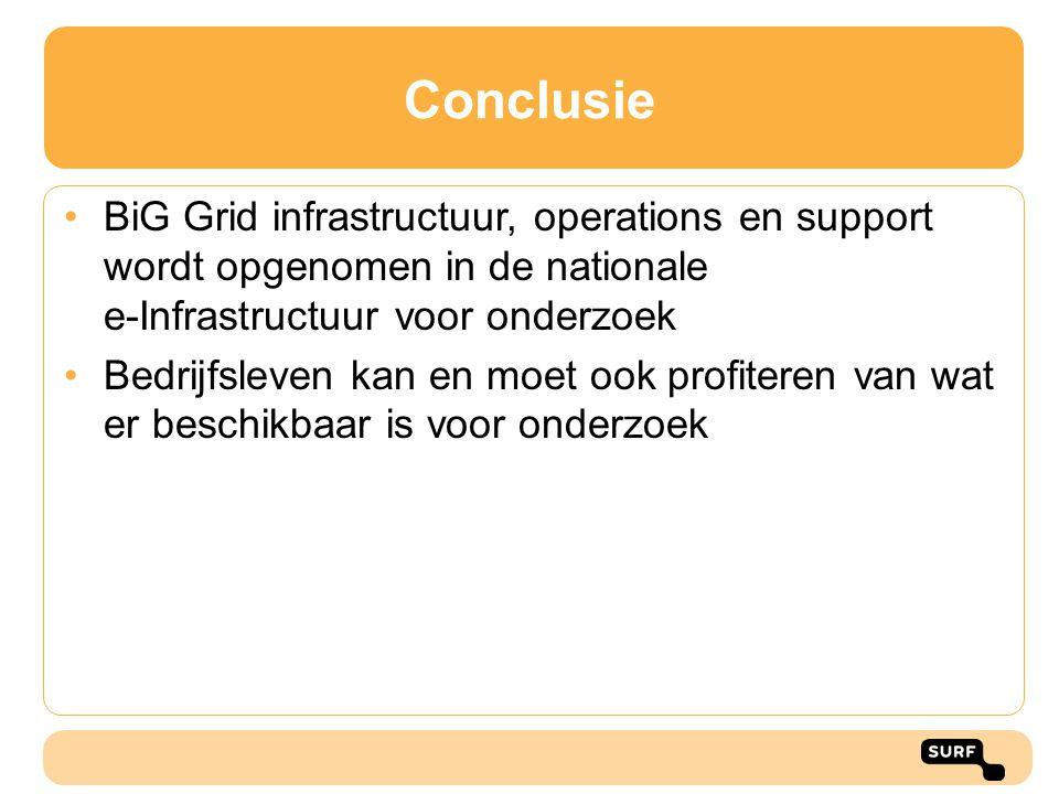 Conclusie BiG Grid infrastructuur, operations en support wordt opgenomen in de nationale e-Infrastructuur voor onderzoek.